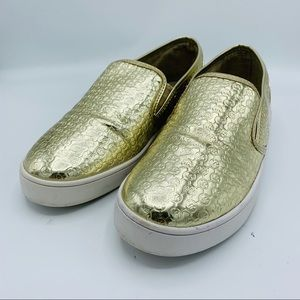 Michael Kors Ivy Alita Gold Slip On Sneakers Sz 5
